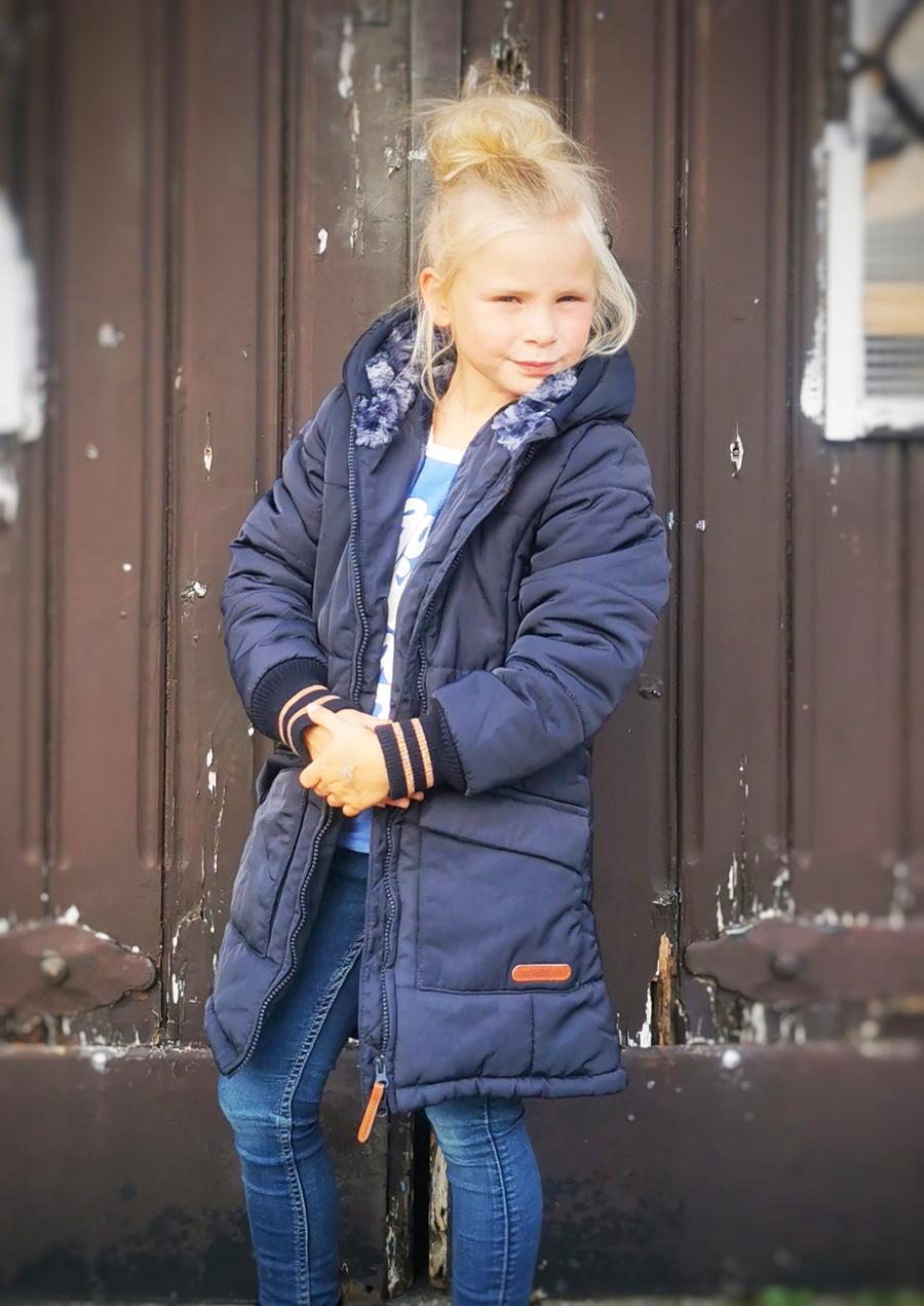 donkerblauwe winterjas meisje, donkerblauwe parka jas, warme winterjas kind