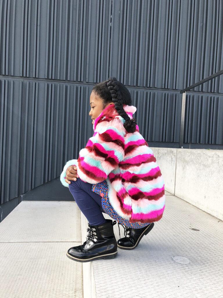 bontjas voor meisjes, kleurrijke bontjas, kidzart winterjas