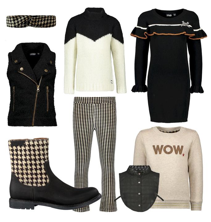 get the look meisjes kleding, zwart wit meisjeskleding, piedepoule, like flo