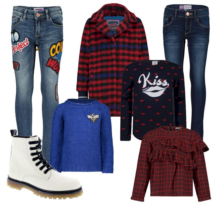 hippe meidenkleding, tienerkleding meisjes, meisjeskleding, herfstkleding 2019, rode ruit, geruite kleding, jeans voor meisjes, witte boots