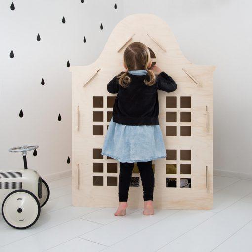 houten speelhuisje, grachtenhuisje speelhuisje, sassefras, leuk voor meisjes, meisjescadeautjes, girlslabel