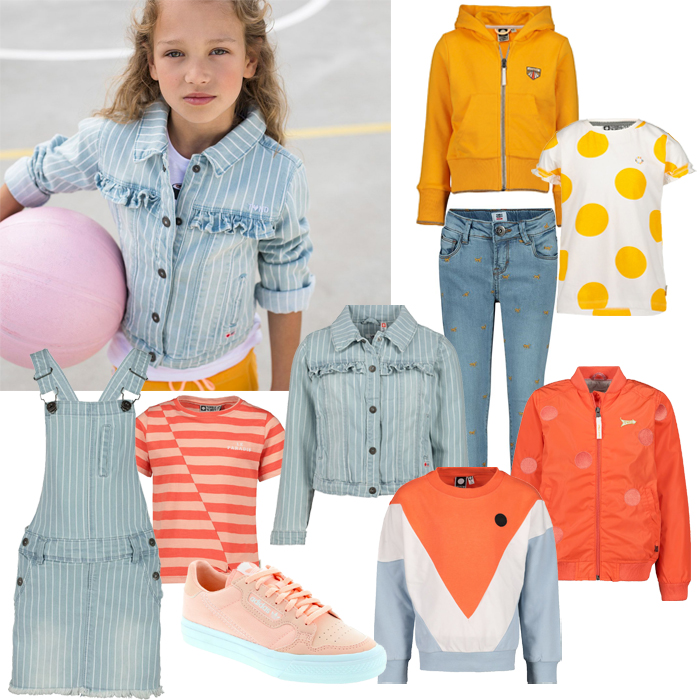 kindermode trends, meisjeskleding voorjaar 2020, tumble n dry 2020, jeans meisjes, zomerjas meisje, gele meisjeskleding, oranje meisjeskleding, denim meisjeskleding, shirt met stippen