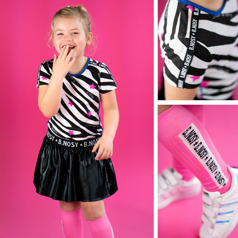 b.nosy kinderkleding, bnosy zomer 2020, bnosy winactie, hippe meisjeskleding, zwart wit meisjes jurkje