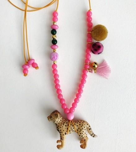 bymelo, kindersieraden, ketting luipaard, dieren ketting, ketting kind