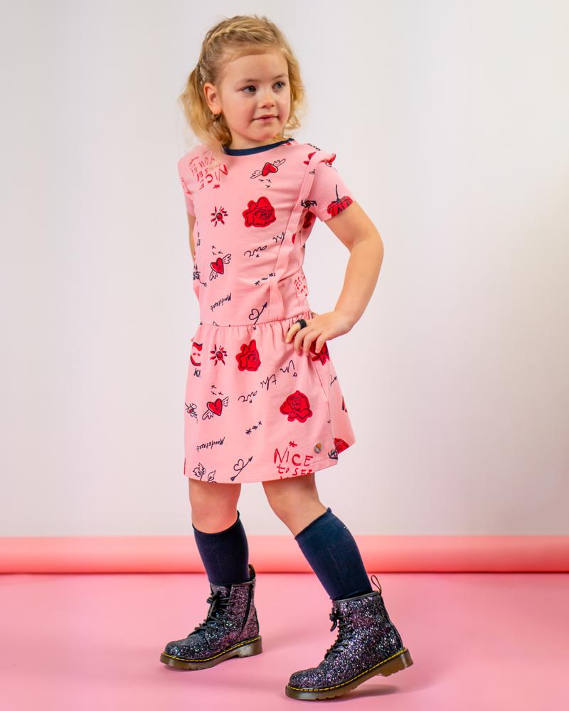 moodstreet, moodstreet jurkje, meisjes jurkje roze met rood