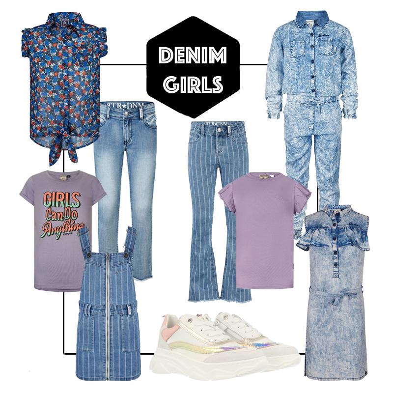 kinderkleding korting, denim kinderkleding, denim meisjeskleding, denim jumpsuit meisje, denim jurkje meisje, spijker jumpsuit meisje, spijkerbroek meisje