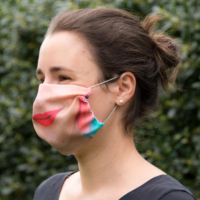 gepersonaliseerde mondkapjes, mondkapje met mond foto