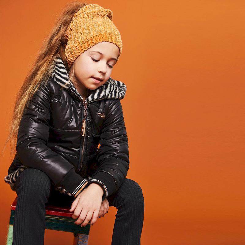 Stoere jassen voor meisjes, reversibel winterjas meisje, zwarte winterjas meisje, winterjas meisje maat 128-134-140-152