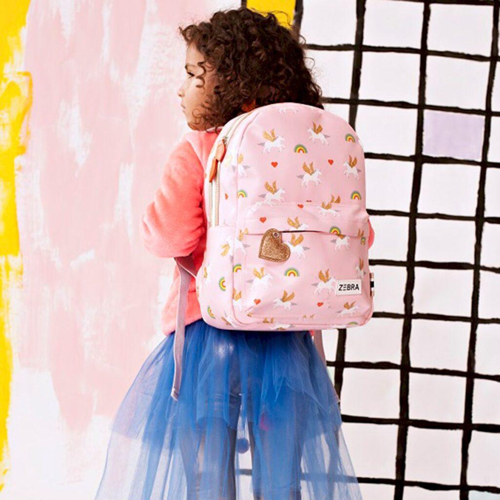 zebra trends tassen, meisjestassen, meisjes rugtas, rugtas met regenboogprint, kindertas meisje