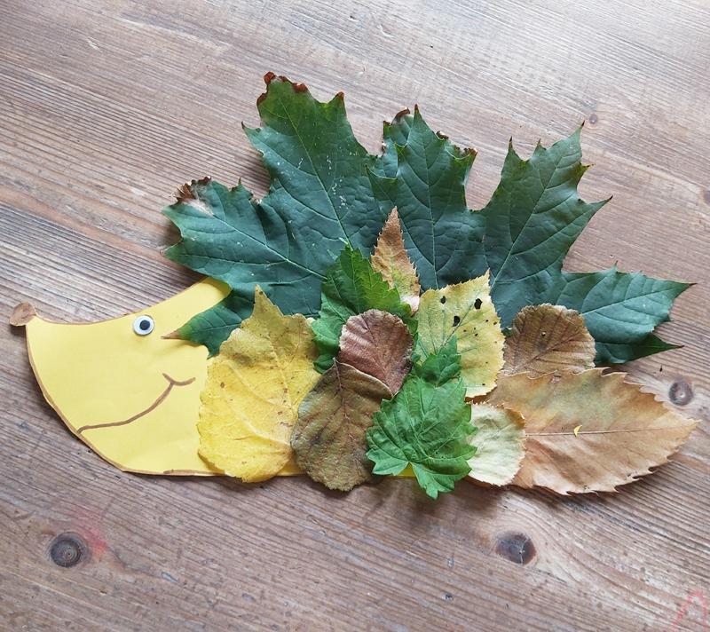 diy, egeltje knutselen, knutselen met bladeren, herfst knutselen, knutselen met fay en jez