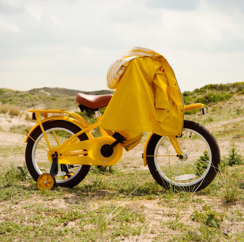 gele kinderfiets, gele meisjesfiets, kinderfiets geel