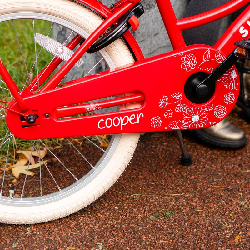 cooper fiets, rode kinderfiets met drager