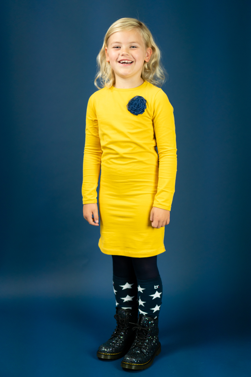 bobbi ravioli jurkje luna, kinderjurkjes,  meisjesjurkjes, bobbi ravioli, geel jurkje meisje