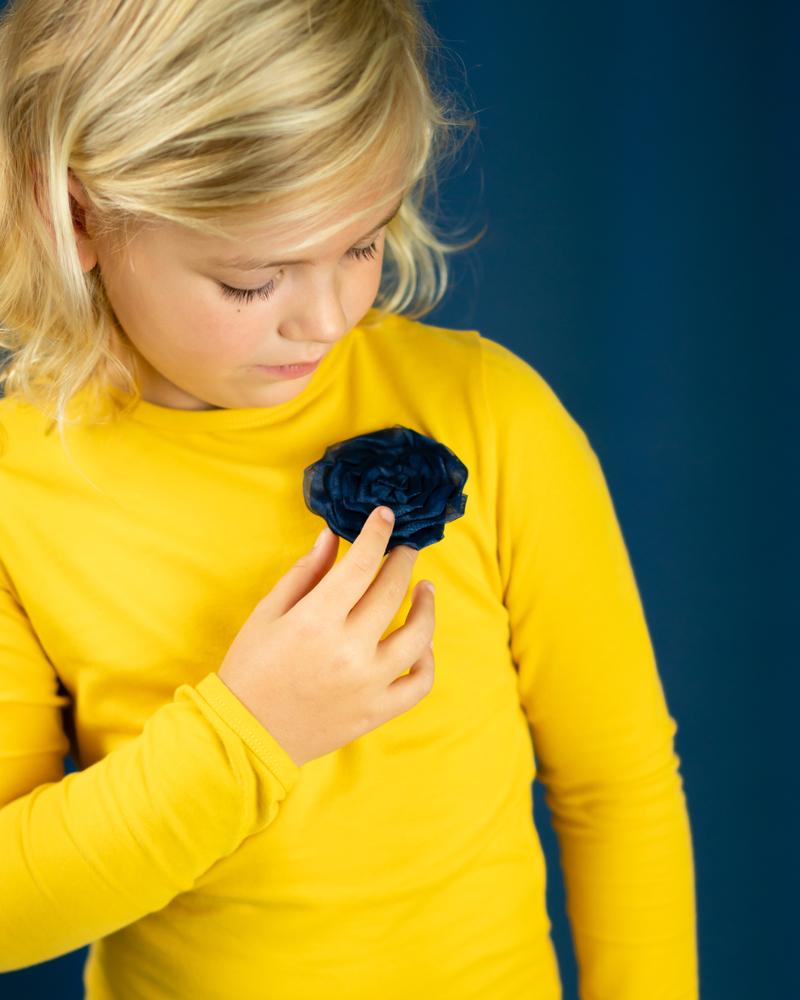 meisjesjurkje geel, geel jurkje meisje, geel met donkerblauw meisjeskleding., bobbi ravioli jurkje luna, kinderjurkjes,  meisjesjurkjes, bobbi ravioli