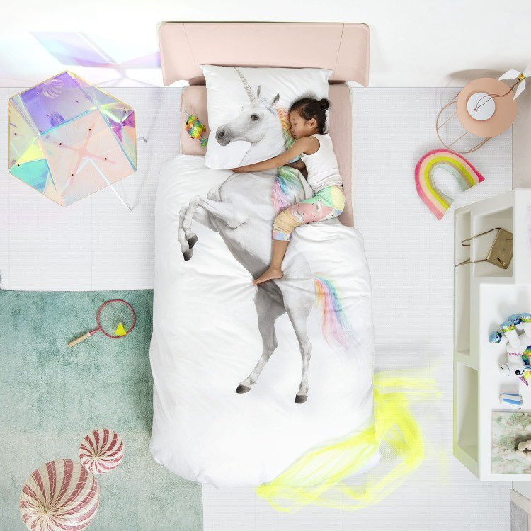 unicorn slaapkamer, unicorn kamer, unicorn dekbedovertrek, unicorn accessoires, snurk dekbedovertrek unicorn