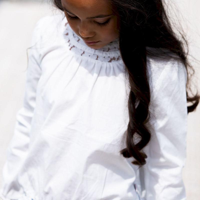 bnosy, bnosy nieuwe collectie, bnosy 2021, wiltte blouse meisje, wit bloesje meisje
