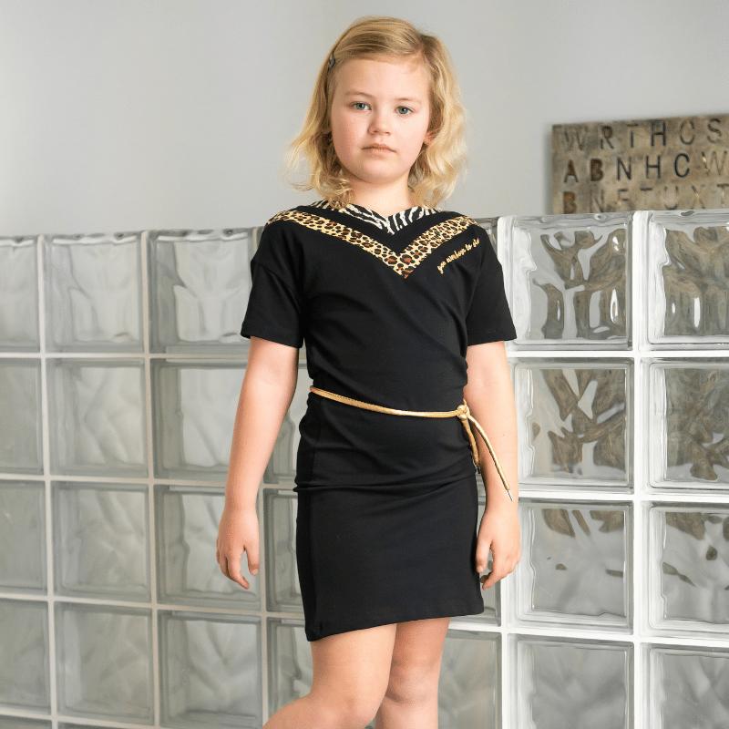 O'CHill jurkje, meisjesjurkje, ochill jurkje Skye, zwart jurkje panterprint