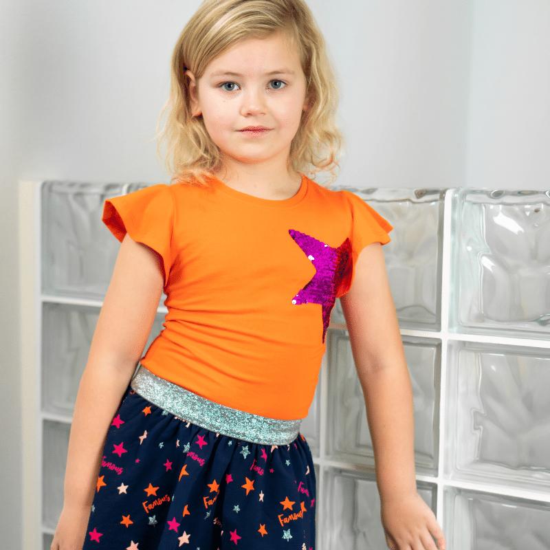O'CHill jurkje, meisjesjurkje, ochill jurkje abby, oranje met sterrenprint, kleurrijke jurkjes, kleurrijke meisjeskleding