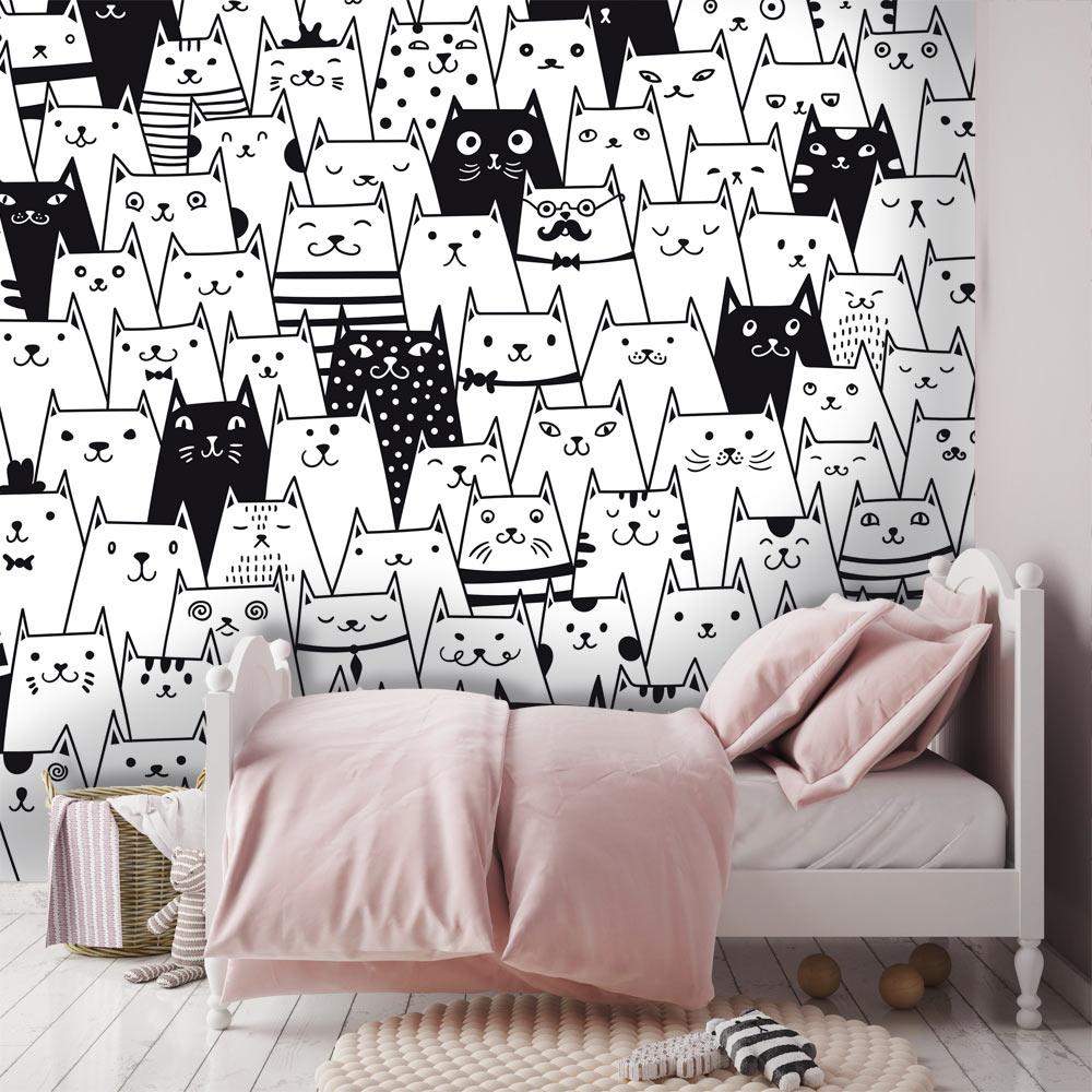 kastenbehang, behang met grafische katten, kinderbehang, zwart wit behang, behang meisjeskamer