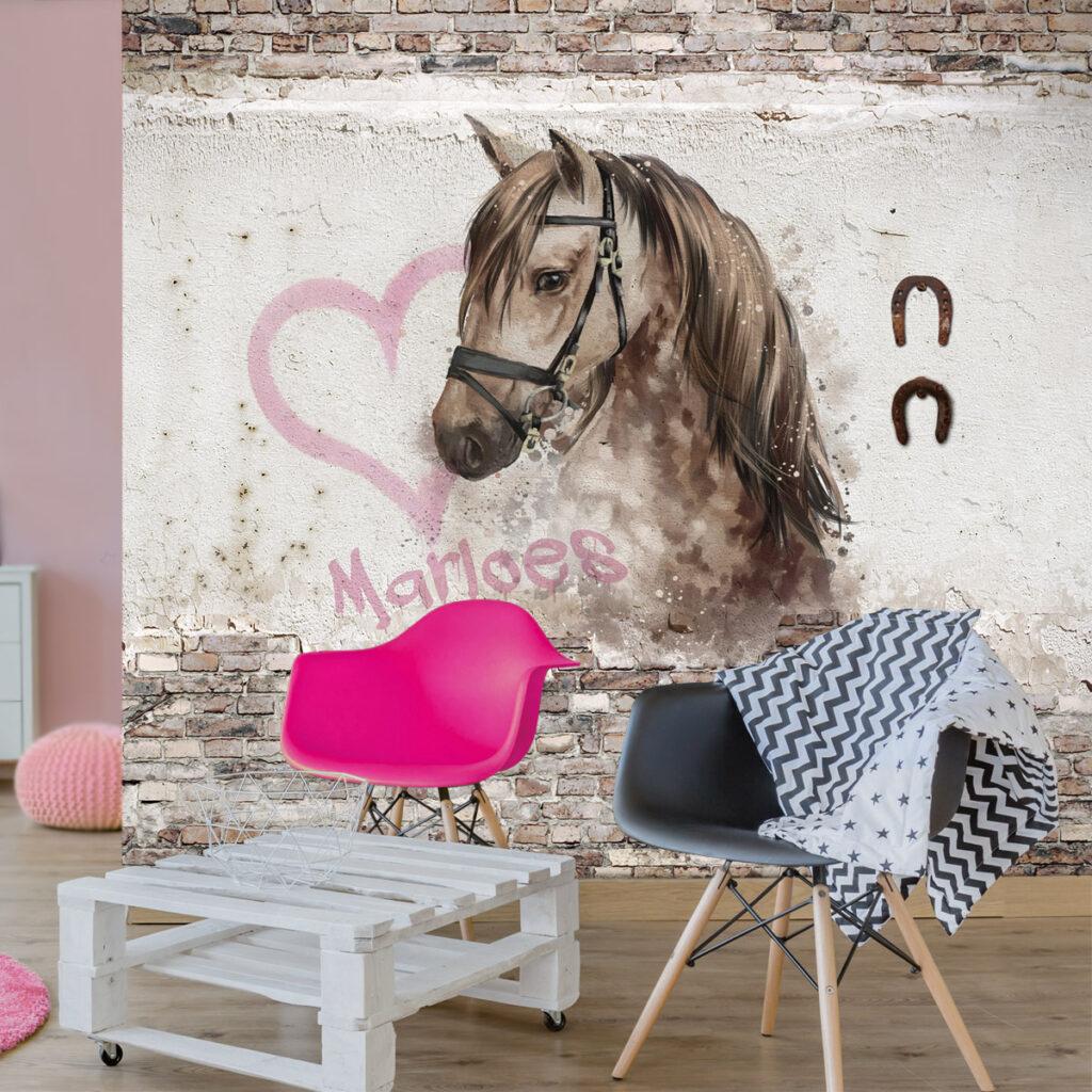 behang paard, paarden behang, paardenkamer, meisjeskamer paard , paardenbehang met naam, kinderbehang met naam