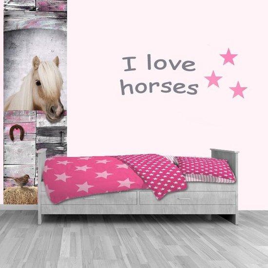 i love horses, paardenbehang, behang met paard, roze behang met paard