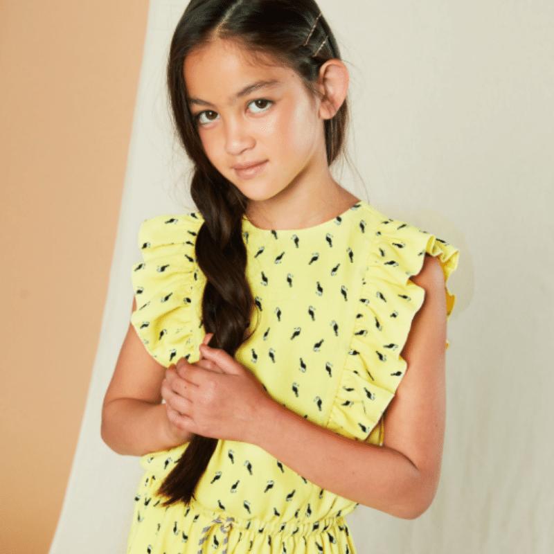 Nono jurkje, geel jurkje meisje, geel meisjes jurkje, Nono 2021