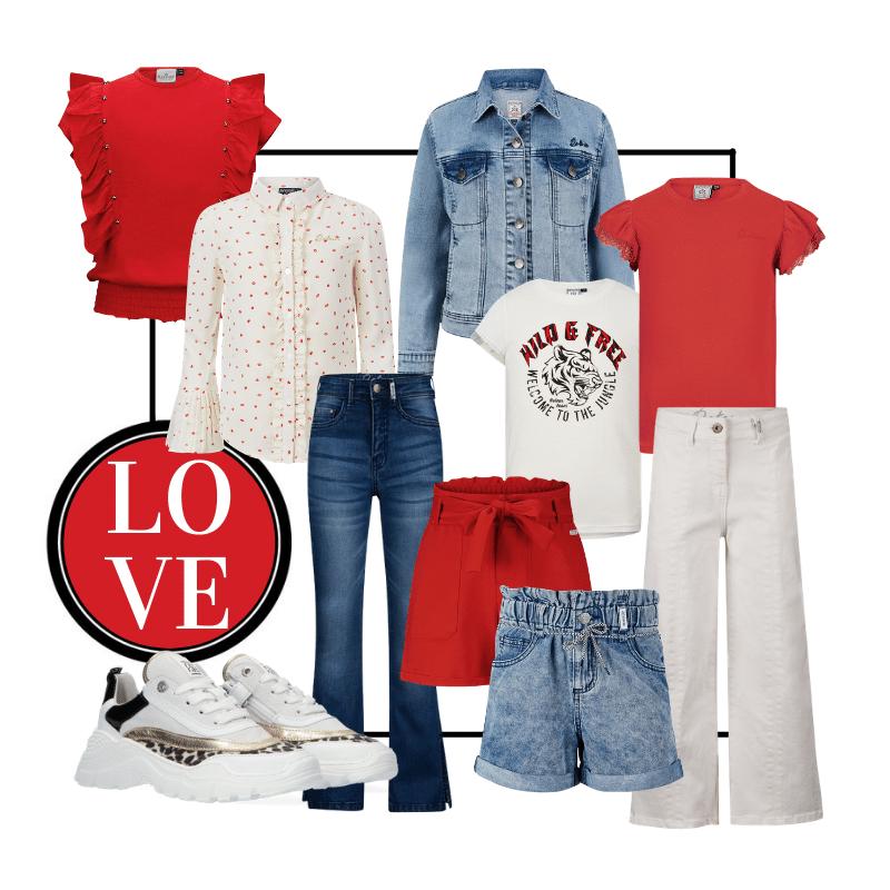 meisjeskleding rood, rood, kinderkleding rood, rood wit denim, hippe meisjeskleding