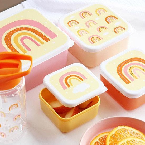 snackdoosjes regenboog print, lunchbox regenboog print, broodtrommel regenboog print